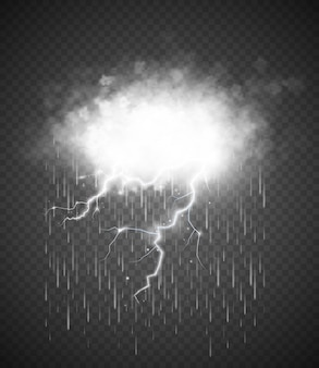 Storm met bliksem geïsoleerd op transparant.