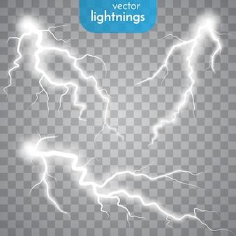 Storm met bliksem geïsoleerd op transparant
