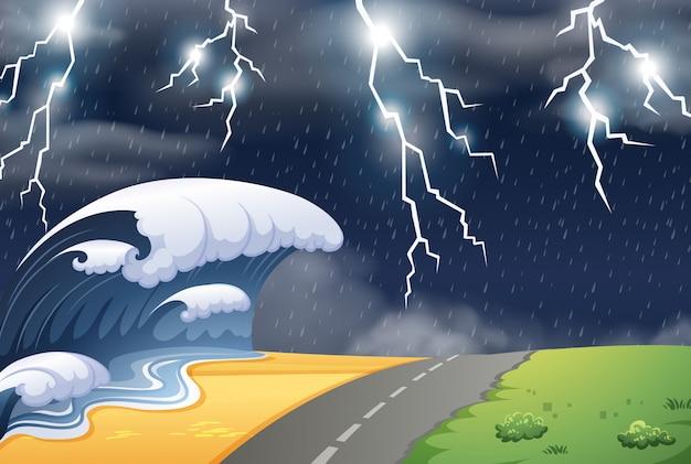 Stormachtig weer in natre scène