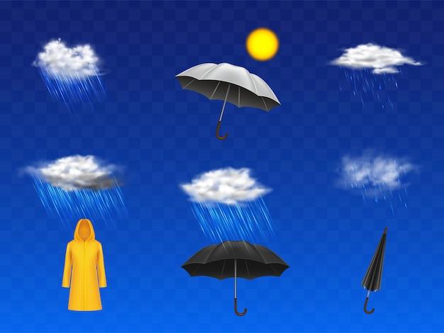 Stormachtige en regenachtige weersvoorspelling 3d-realistische pictogrammen instellen met zonneschijf, wolken met regenval