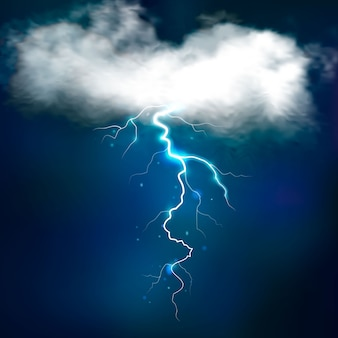 Stormeffecten met heldere blikseminslag van wit verlichte wolk op nachtelijke hemel vectorillustratie