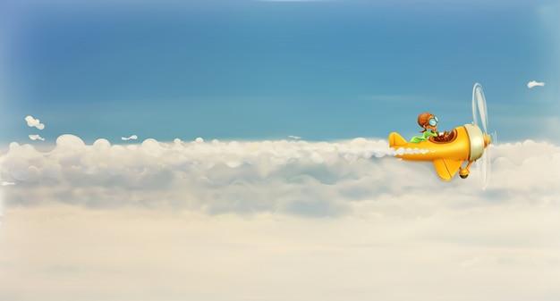 Stormloop na eigen droom, grappige beeldverhaalvliegenier in de hemel, illustratie