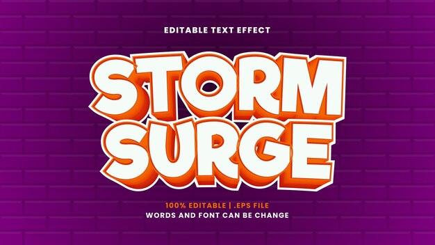 Stormvloed bewerkbaar teksteffect in moderne 3d-stijl