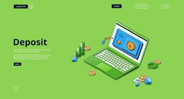 Stort banner. concept van de opslag van de geldveiligheid, investeringen en bankstorting.
