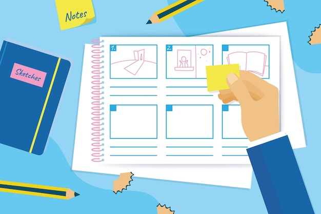 Storyboard concept met tekeningen