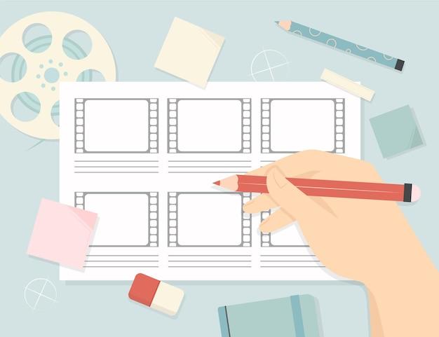 Storyboard en persoon klaar om te creëren