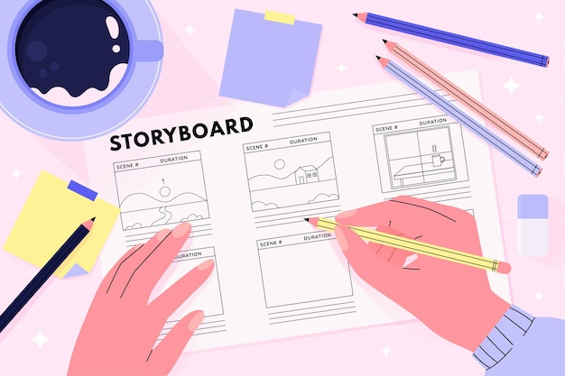 Storyboard illustratie concept