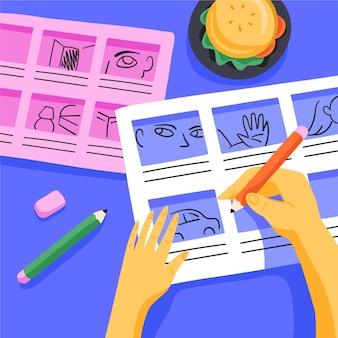 Storyboard proces illustratie