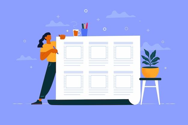 Storyboardconcept geïllustreerd met werkende vrouw