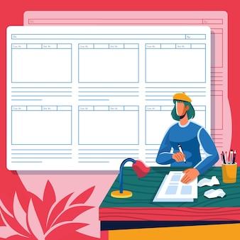 Storyboardconcept met persoon aan bureau