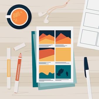 Storyboardproces met geïllustreerde kop koffie