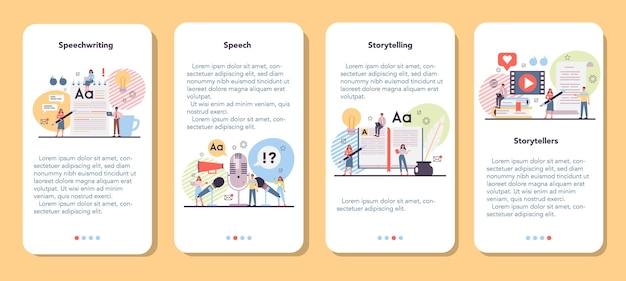 Storytelling banner set voor mobiele applicaties
