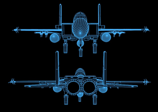 Straaljager tijdens de vlucht in abstracte veelhoekige stijl