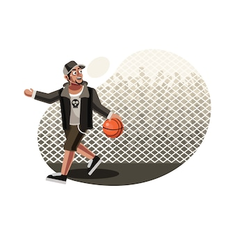 Straat basketbal speler