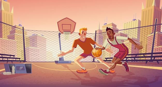 Straat basketbal spelers cartoon met jonge blanke en afro-amerikaanse mannen