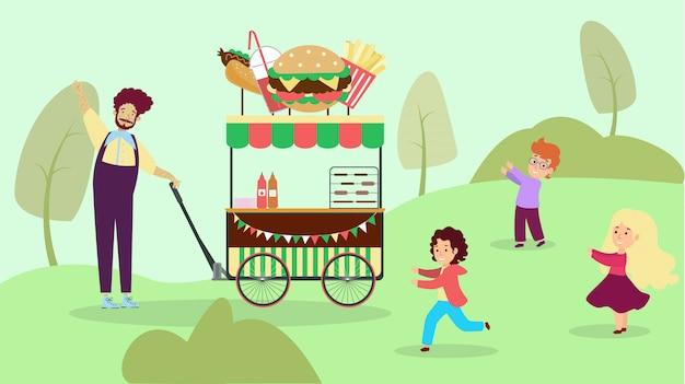Straat café nationaal stadspark, tuin stad fastfood winkel illustratie. kindkarakter speelt buitenreserve en verslindt levensmiddel.