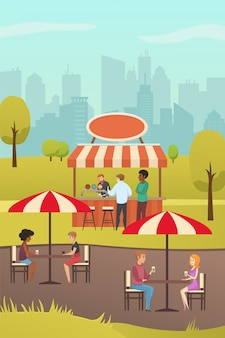 Straat cafe of zomer bar in city park platte vector