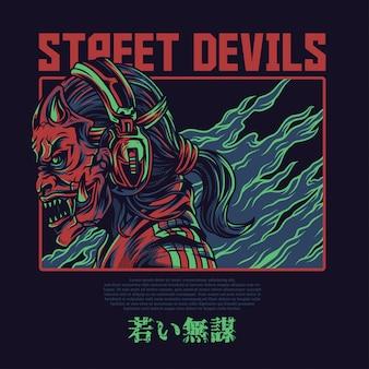 Straat duivels illustratie