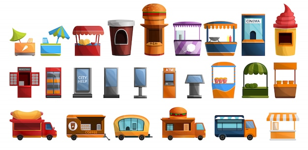 Straat kiosk icon set, cartoon stijl