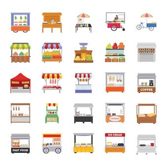 Straat kraampjes vlakke pictogrammen