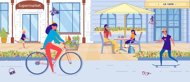 Straat met supermarkt, cafã © gebouw en mensen