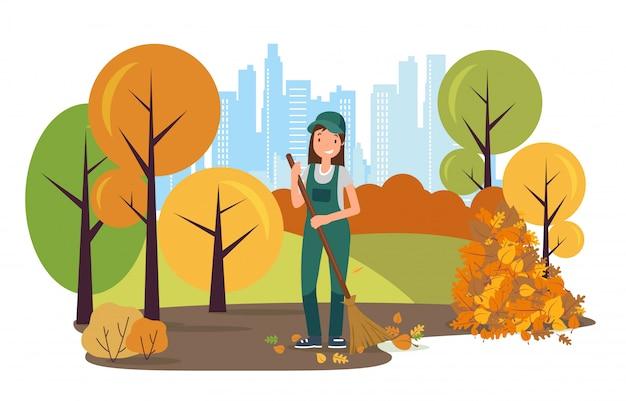 Straat schoner karakter vegen bladeren in park.
