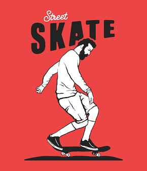 Straat skateboarden illustratie