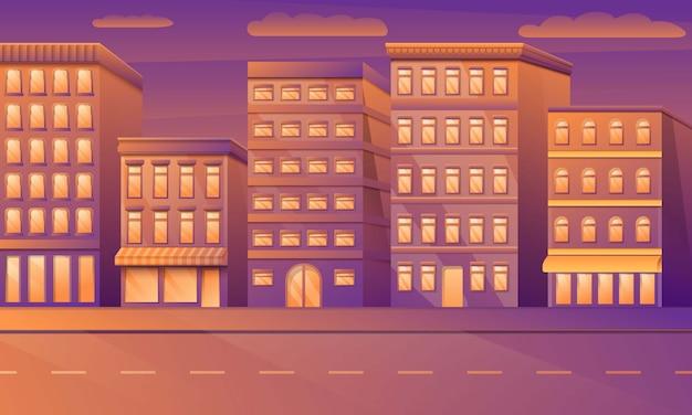 Straat van de beeldverhaal de lege stad met gebouwen in de ochtend, vectorillustratie.