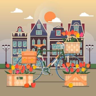 Straat van een kleine europese stad. gevels van traditionele huizen. vectorillustratie