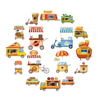 Straat voedsel kiosk iconen set, cartoon stijl