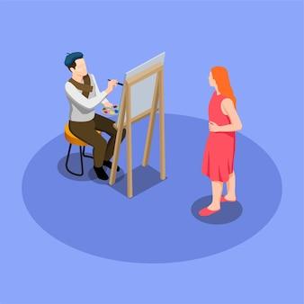 Straatartiest tijdens het schilderen van het portret van de vrouw