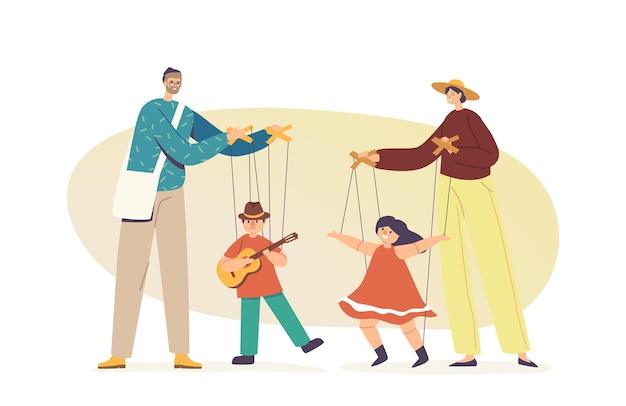 Straatartiesten poppenspelers die poppenkast spelen met marionettenpoppen die aan touwen hangen