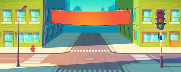 Straatbanner, poster. stedelijke reclame, promotiemodel.