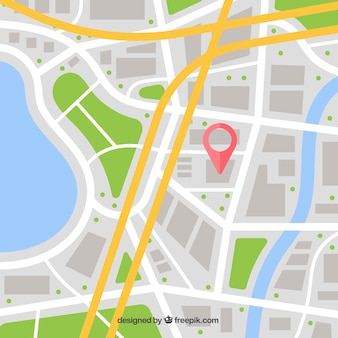 Straatkaart met pin en routes