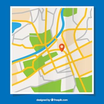 Straatkaart met pin in het midden