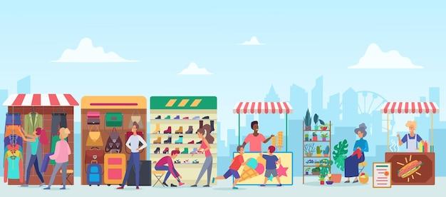 Straatkleding en voedsel openluchtmarkt stoepmarkt in megapolis op stadsgezicht achtergrond