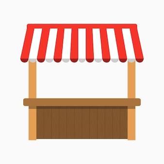 Straatkraam met luifel. kiosk met houten rek. vector illustratie.
