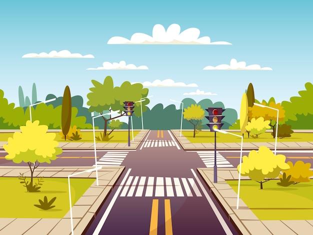 Straatkruispunt van verkeersweg en voetgangersoversteekplaats of zebrapad