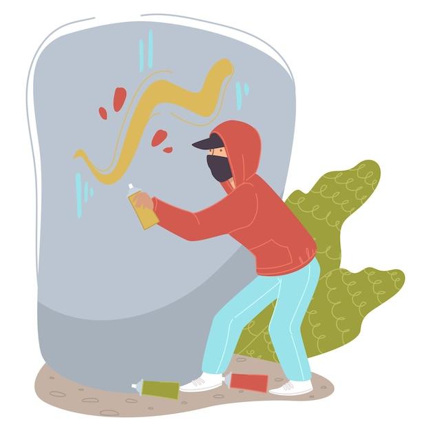 Straatkunst en graffitibeweging, kunstenaar die schilderen maakt met spuitverf op de herfst. tekening muurschildering in stad of stad. illegale activiteit. moderne hobby van tieners en grungescène. vector in vlakke stijl