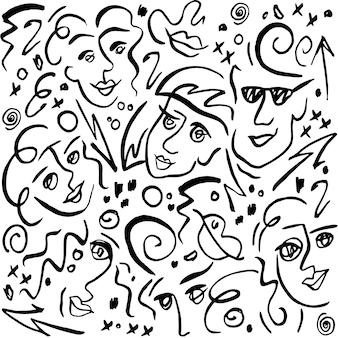 Straatkunst. grafisch patroon met gezichten. lijnstijl. vrouw en man. abstracte achtergrond