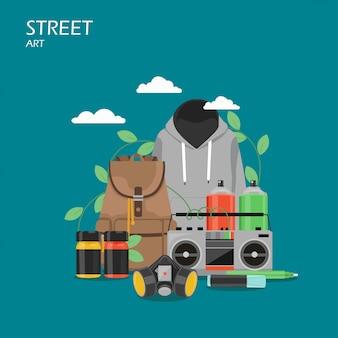 Straatkunst vlakke stijl illustratie