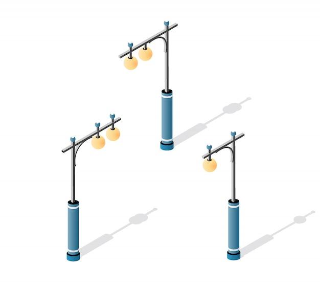 Straatlantaarn met lantaarns en stadsverlichting
