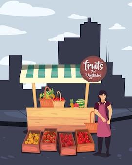 Straatmarkt handel plat ontwerp