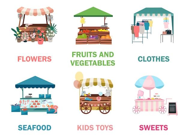 Straatmarktkraampjes platte illustraties set. beurs-, kermishandelstenten, buitenkiosken en karren, trolleys. stedelijk festival winkelen plaatsen cartoon concepten. zomermarktbalies voor goederen