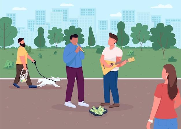 Straatmuziek speelt egale kleur. geld inzamelen met je favoriete hobby. bijzondere prestatie in park. talanted muzikanten 2d stripfiguren met enorme megapolis