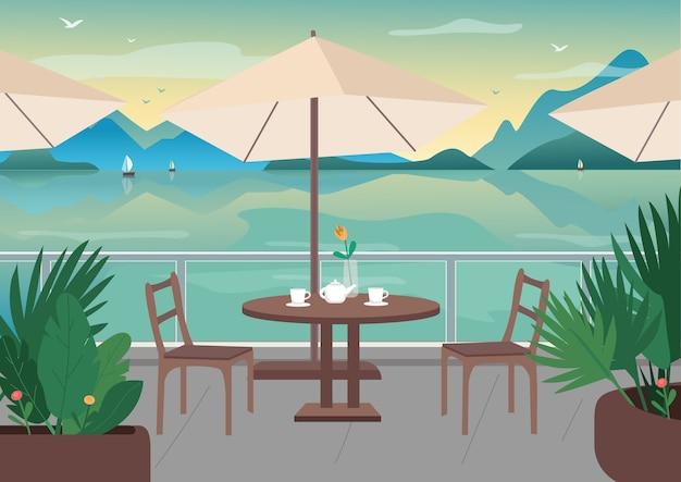 Straatrestaurant bij badplaats egale kleur illustratie