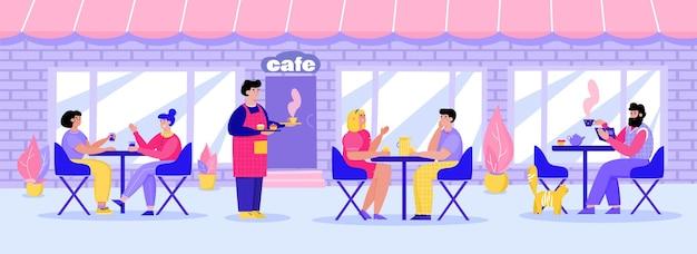 Straatrestaurant met mensen aan tafels cartoon vectorillustratie geïsoleerd