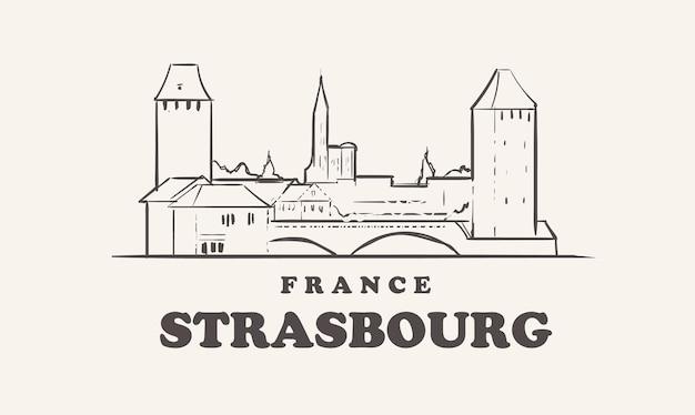 Straatsburg stadsgezicht mooie illustratie