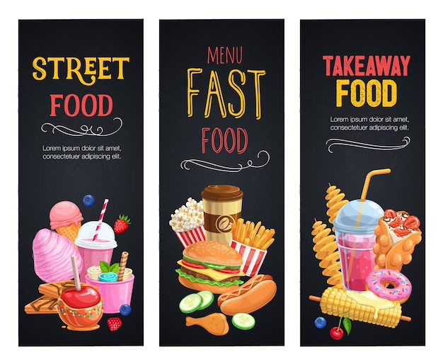 Straatvoedsel banners. sjabloon voor afhaalmaaltijden met bubbelwafels, hongkong, spiraalvormige chips, limonade en appels in karamel