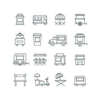 Straatvoedsel detailhandel, vrachtwagen lijn pictogrammen